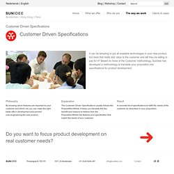 Strategic Innovation & Marketing - The way we work - Customer Driven Specifications