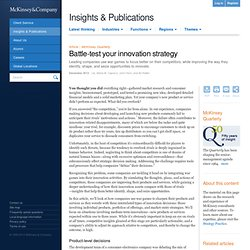 Battle-test your innovation strategy