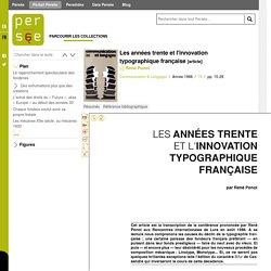 Les années trente et l'innovation typographique française