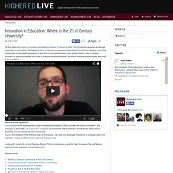 Innovation in Education: Where is the 21st Century University?