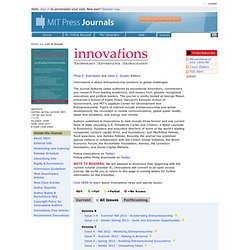 Innovations: Technology, Governance, Globalization