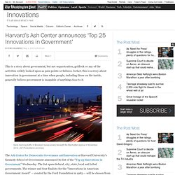 Harvard's Ash Center announces 'Top 25 Innovations in Government'