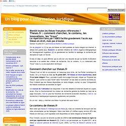 """Theses.fr : comment chercher, le contenu, les innovations, les """"trous"""""""