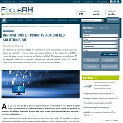 Innovations et insights autour des solutions RH - ERP/SIRH - Focus RH