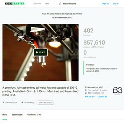 Pico: All-Metal Hotend for RepRap 3D Printers by B3 Innovations, LLC