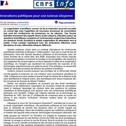 CNRS - JUIN 2001 - Innovations politiques pour une science citoyenne