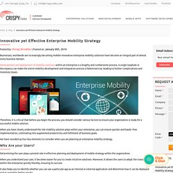 Innovative yet Effective Enterprise Mobility Strategy