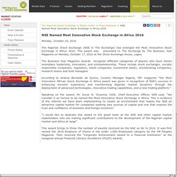 NSE Named Most Innovative Stock Exchange in Africa 2016