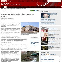 Innovative India water plant opens in Madras