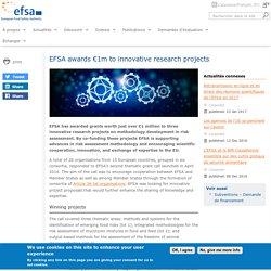 EFSA - JANV 2017 - EFSA awards €1m to innovative research projects