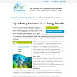 Top 10 Energy Innovators in 100 Energy Priorities : KIC InnoEnergy – pioneering change in sustainable energy