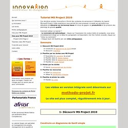 Tutoriel Microsoft Project 2010 - innovaxion, experts en management de projets, specialistes de microsoft project.