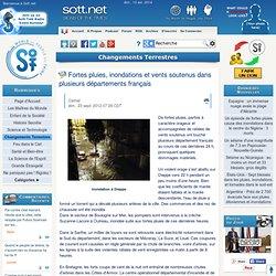 Fortes pluies, inondations et vents soutenus dans plusieurs départements français