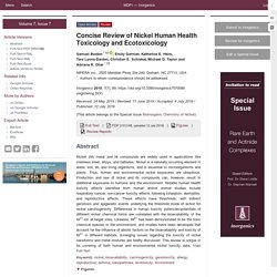 INORGANICS 12/07/19 Concise Review of Nickel Human Health Toxicology and Ecotoxicology
