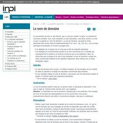 Site de l'Inpi : Protéger son nom de domaine