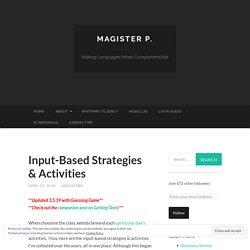 Input-Based Strategies & Activities