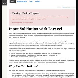 Input Validation with Laravel - Laravel Book