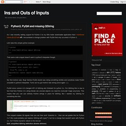 Ins and Outs of Inputs: Python3, PyQt4 and missing QString