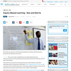 Inquiry Based Learning - Dos and Don'ts