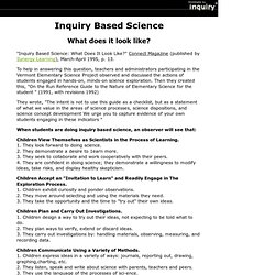 Inquiry Based Science: What Does It Look Like?