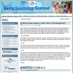 What Does Inquiry Look Like in Kindergarten?