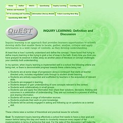 Inquiry Learning Definition