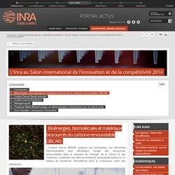 INRA 15/09/14 Bioénergies, biomolécules et matériaux biosourcés du carbone renouvelable (3BCAR)