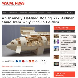 An Insanely Detailed Boeing 777 Airliner Made from Only Manilla Folders