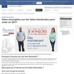 Inscription sur les listes électorales / Actualités des élections