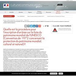 Quelle est la procédure pour l'inscription d'un bien sur la liste du patrimoine mondial de l'UNESCO (Convention de 1972 concernant la protection du patrimoine mondial, culturel et naturel) ?