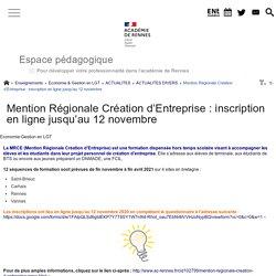 Mention Régionale Création d'Entreprise : inscription en ligne jusqu'au 12 novembre - Espace pédagogique