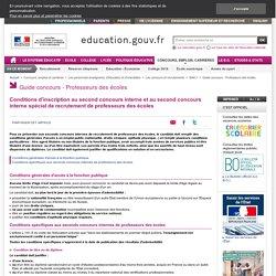 Conditions d'inscription aux seconds concours internes de professeurs des écoles