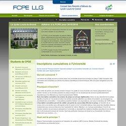 Parents d'élèves FCPE au lycée Louis-le-Grand de Paris - Inscriptions cumulatives à l'Université
