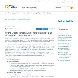 Hydro-Québec inscrit un bénéfice net de 1,5 G$ au premier trimestre de ...