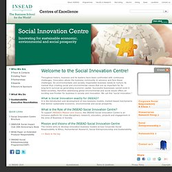 Social Innovation Centre | www.insead.edu