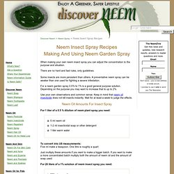 Neem Insect Spray: Making And Using Neem Garden Spray