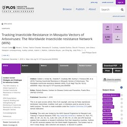 PLOS NEGLECTED TROPICAL DISEASES 01/12/16 Tracking Insecticide Resistance in Mosquito Vectors of Arboviruses: The Worldwide Insecticide resistance Network (WIN)
