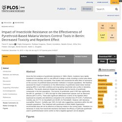 PLOS 16/12/15 Impact of Insecticide Resistance on the Effectiveness of Pyrethroid-Based Malaria Vectors Control Tools in Benin: Decreased Toxicity and Repellent Effect