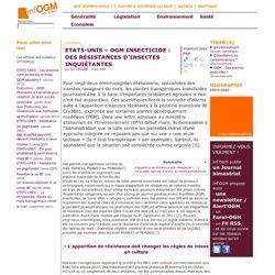 ETATS-UNIS – OGM insecticide: des résistances d'insectes inquiétantes