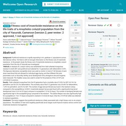 Wellcome Open Res. 2020 Sep 8;5: Fitness cost of insecticide resistance on the life-traits of a Anopheles coluzzii population from the city of Yaoundé, Cameroon