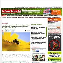 FRANCE AGRICOLE 04/04/13 Insecticides - « Aucune relation cohérente entre santé des bourdons et résidus de néonicotinoïdes » (Ag