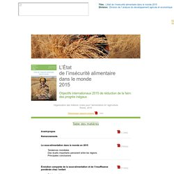 L'État de l'insécurité alimentaire dans le monde 2015
