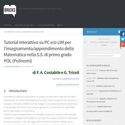 Tutorial interattivo su PC e/o LIM per l'insegnamento/apprendimento della Matematica nella S.S. di primo grado POL (Polinomi) – BRICKS