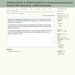 FORMAZIONE & INSEGNAMENTO. Rivista internazionale di Scienze dell'educazione e della formazione