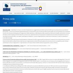 Primo ciclo - CIIM - Commissione Italiana per l'Insegnamento della MatematicaCIIM – Commissione Italiana per l'Insegnamento della Matematica