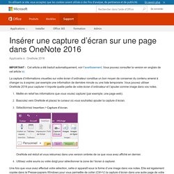 Insérer une capture d'écran sur une page dans OneNote2016 - OneNote