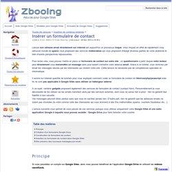 Insérer un formulaire de contact - Zbooing : Astuces pour Google Sites