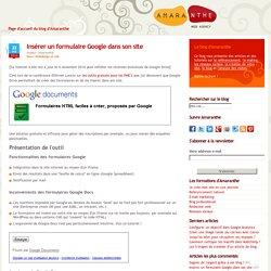 Insérer un formulaire dans son site avec Google Docs