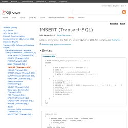 INSERT (Transact-SQL)