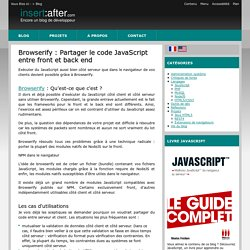 Browserify : Partager le code JavaScript entre front et back end